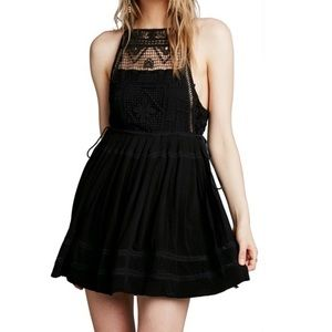 Free People Emily Black Crochet Dress with ties